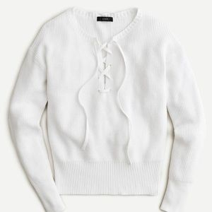 J. Crew lace-up white sweater